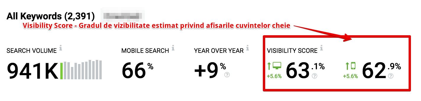 procentul vizibilitatii campaniei seo