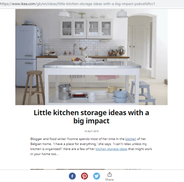3. Content Marketing - articol Ikea