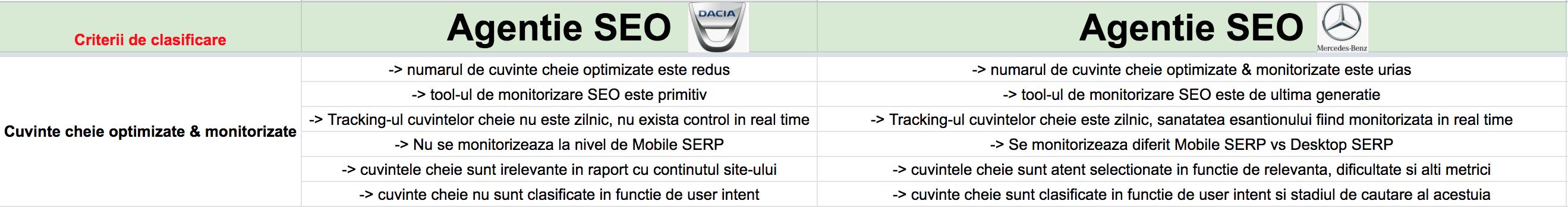 agentie seo - clasificare dupa cuvinte cheie