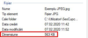 Exemplu de specificații ale unui fișier JPEG